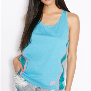 Nike Bonded Tank Turquoise with Pink Binding Sz S